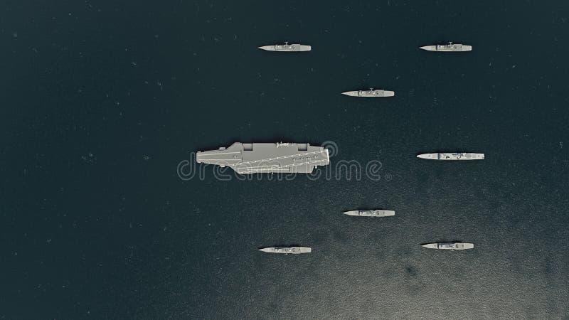 Amerikansk hangarfartyg med jagare och en kryssare i Stilla havet in mot norr Koreaì stock illustrationer