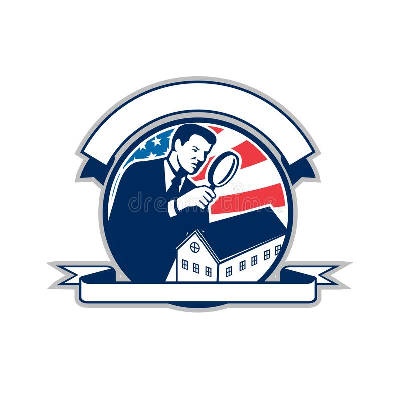 Amerikansk hem- symbol för cirkel för inspektörUSA flagga stock illustrationer