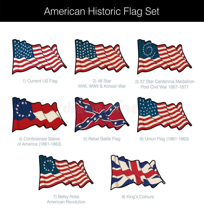 Amerikansk historisk vinkande flaggauppsättning stock illustrationer