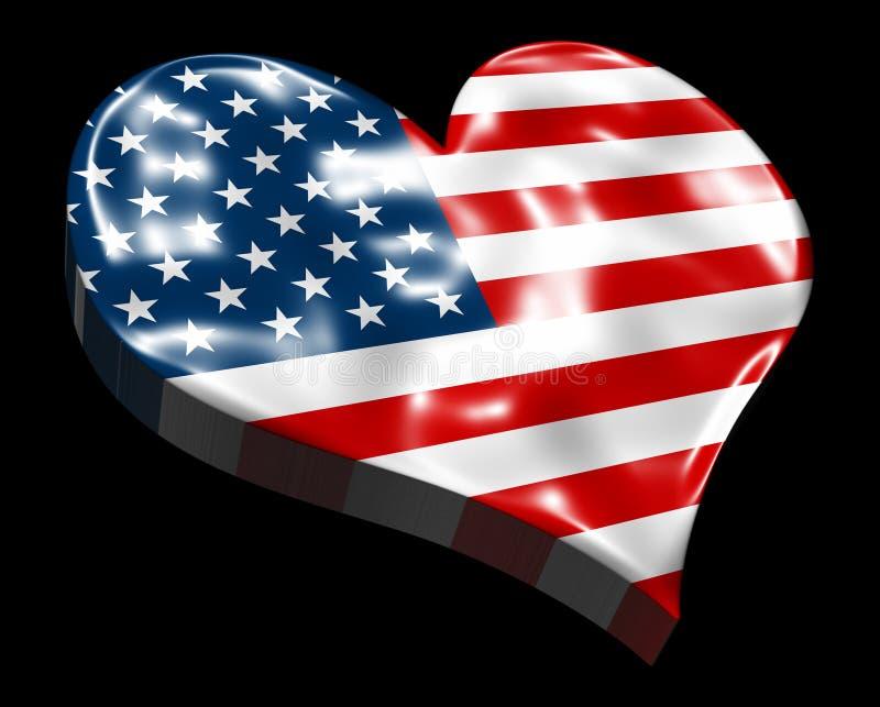 Amerikansk hjärtaflagga 3D vektor illustrationer