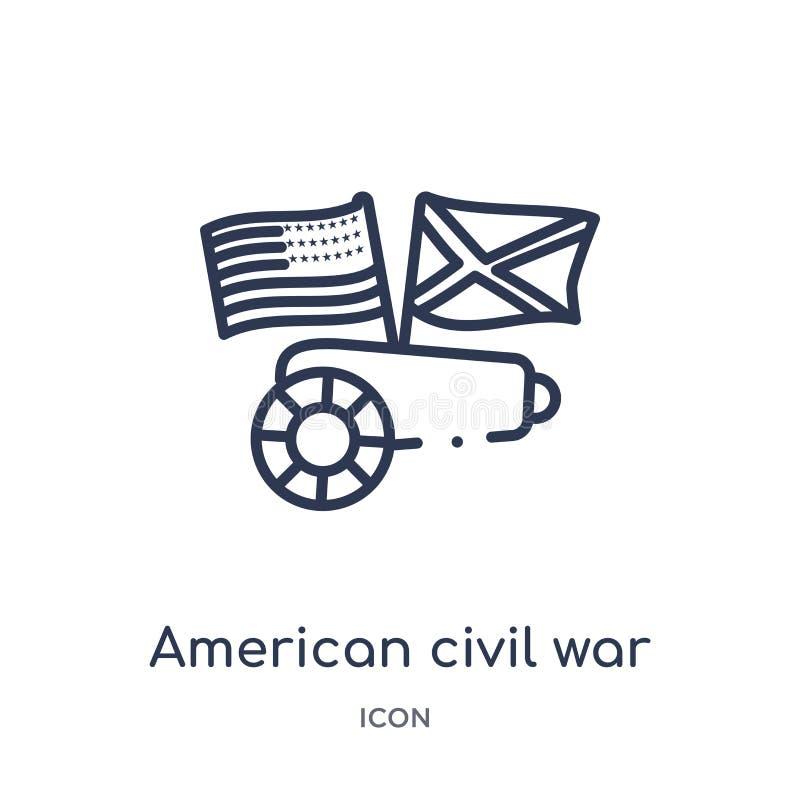 amerikansk inbördeskrigsymbol från USA översiktssamling Tunn linje amerikansk inbördeskrigsymbol som isoleras på vit royaltyfri illustrationer