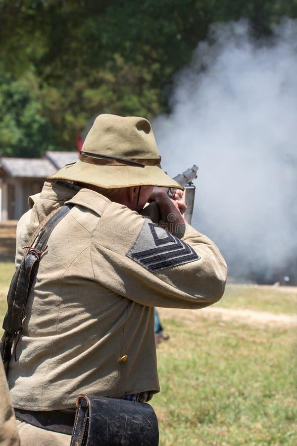 Amerikansk inb?rdeskrigstridReenactment fotografering för bildbyråer