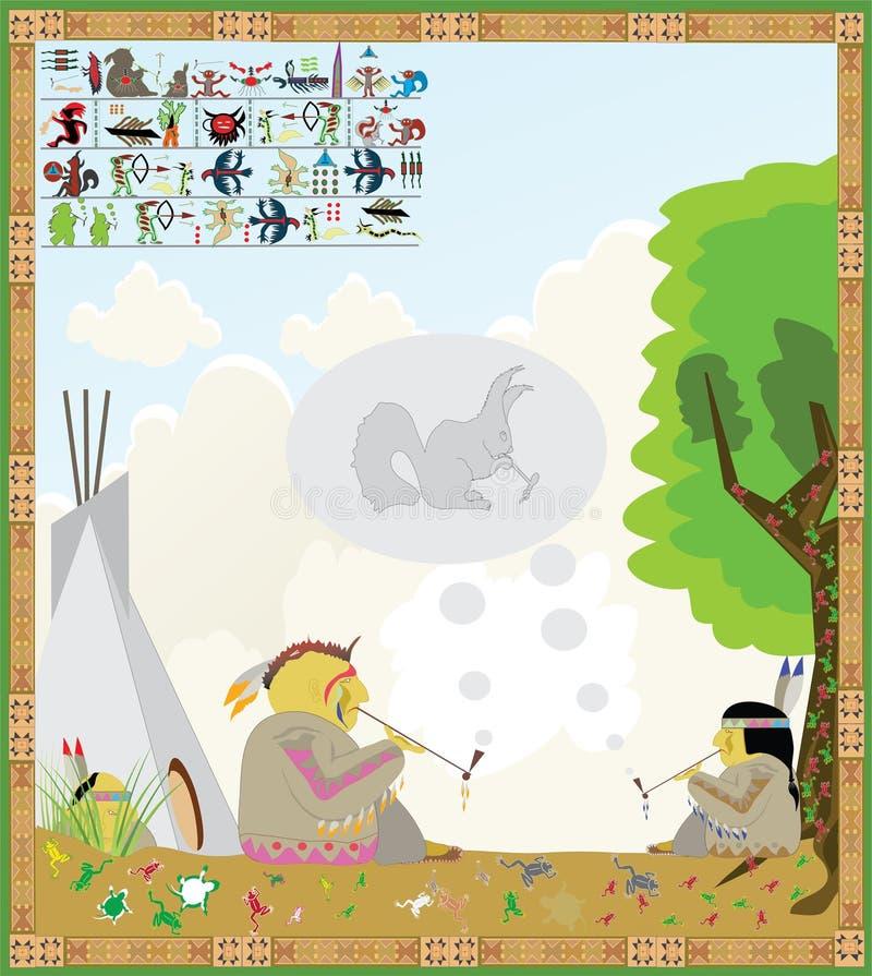 amerikansk indisk bild royaltyfri illustrationer