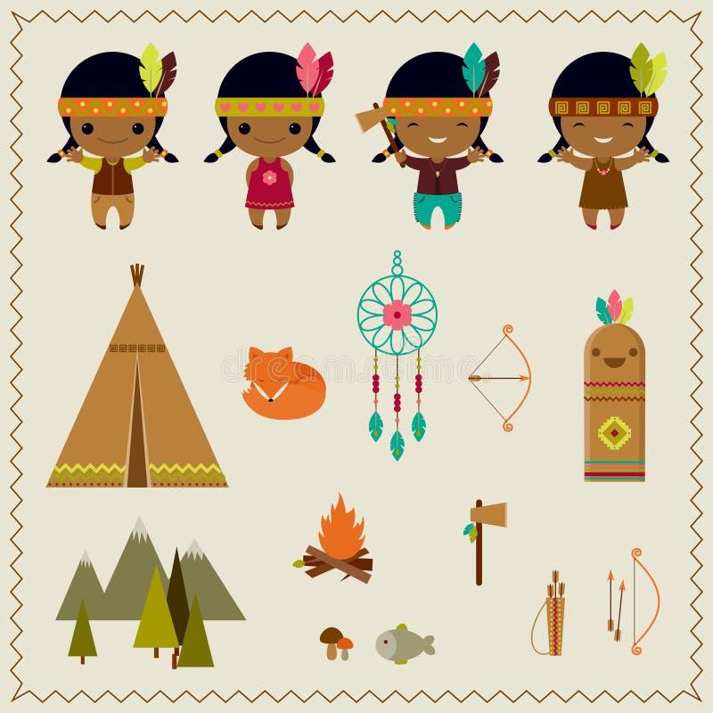 Amerikansk indisk clipartsymbolsdesign stock illustrationer