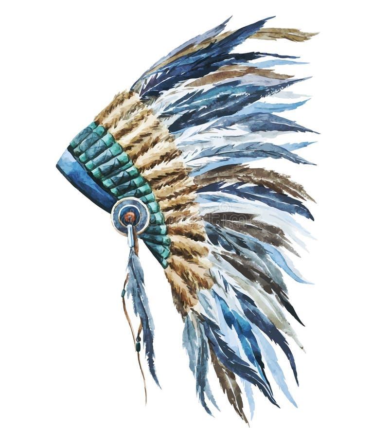 Amerikansk infödd hatt royaltyfri illustrationer