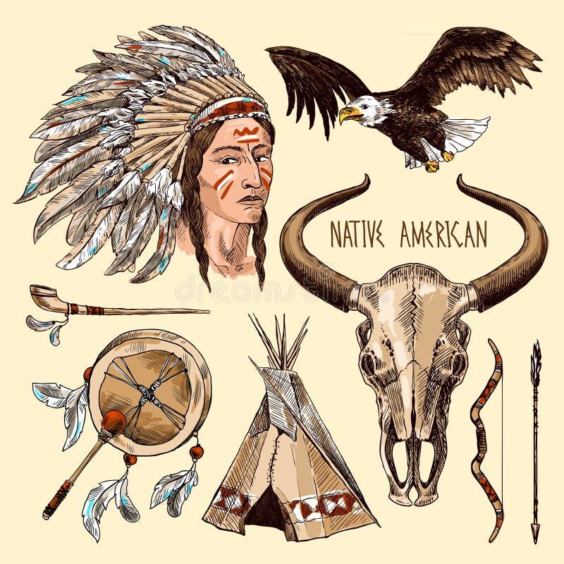 amerikansk inföding stock illustrationer