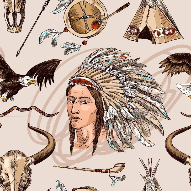 amerikansk inföding vektor illustrationer