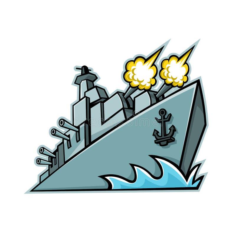 Amerikansk jagarekrigsskeppmaskot vektor illustrationer