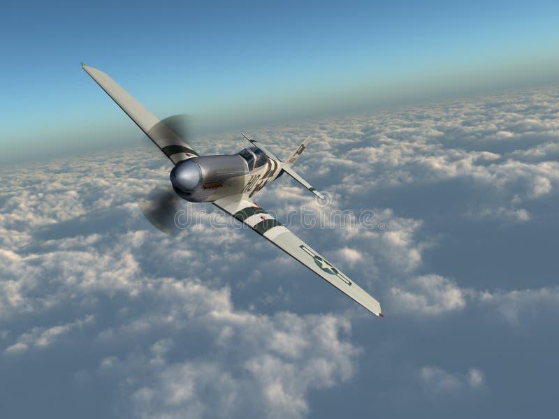 Amerikansk kämpenivå av världskrig II över molnen royaltyfri illustrationer