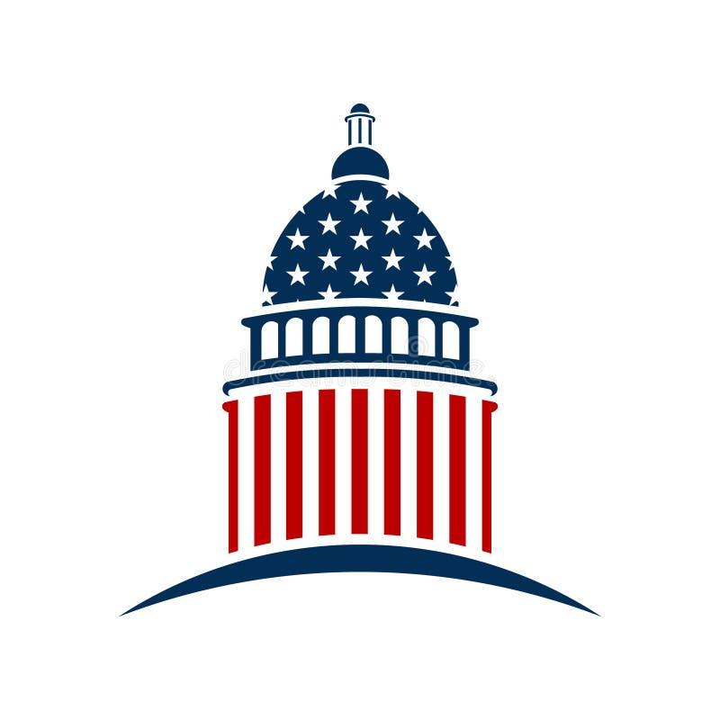 Amerikansk Kapitolium med stjärnor och bandillustrationen royaltyfri illustrationer