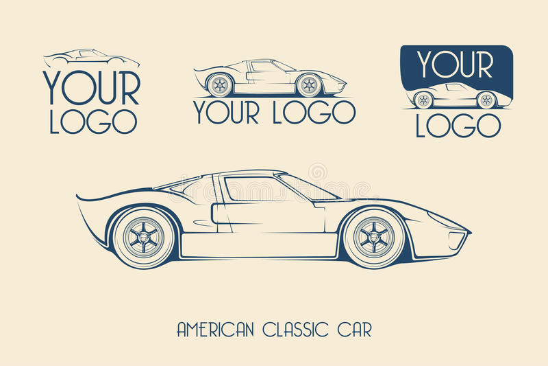 Amerikansk klassisk sportbil, konturer vektor illustrationer