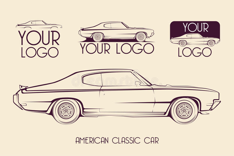 Amerikansk klassisk sportbil, konturer, logo vektor illustrationer
