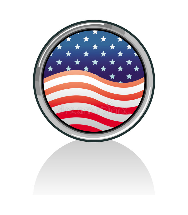 amerikansk knappflagga set USA royaltyfri illustrationer