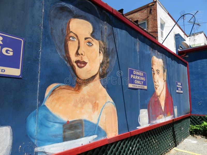 Amerikansk konst för stadsmatställevägg i Washington DC arkivbilder