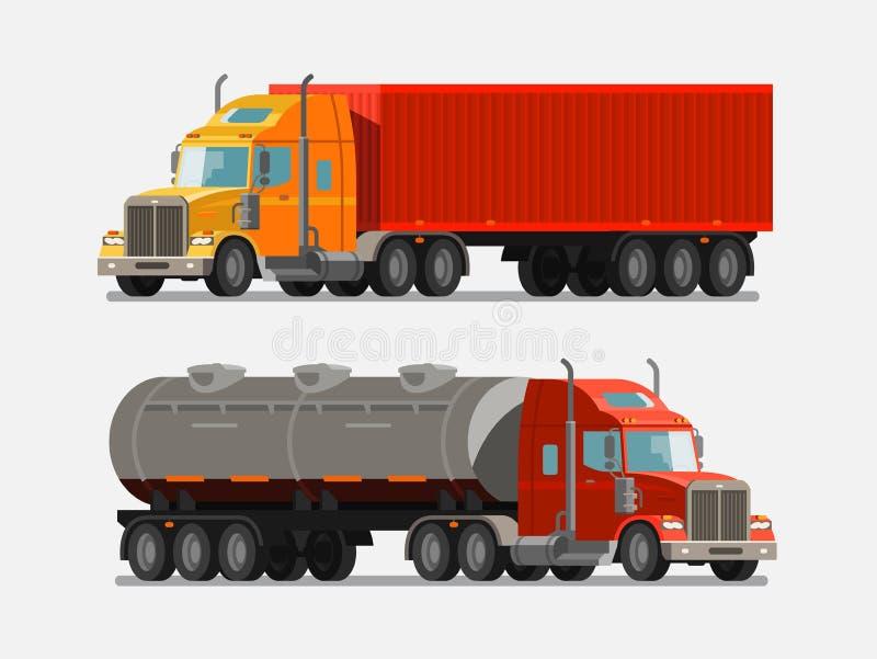Amerikansk kraftig lastbil, lastbil Leverans sändning, sändnings, trans.begrepp också vektor för coreldrawillustration royaltyfri illustrationer
