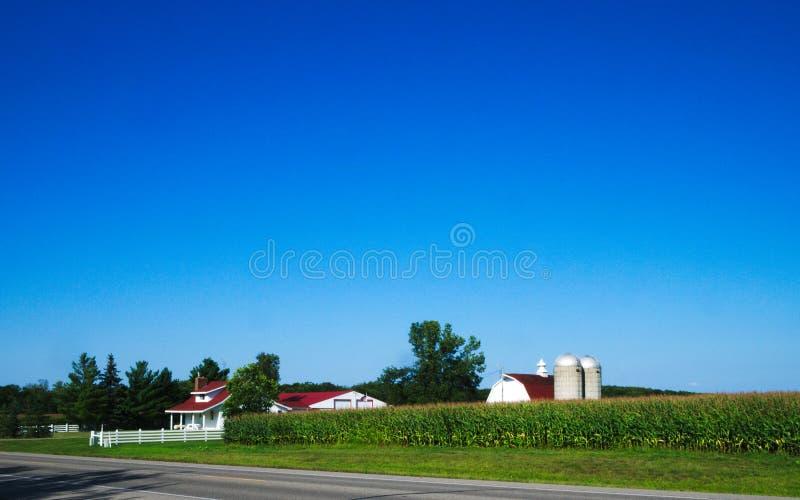 Amerikansk landslantgård med fältet för havreväxter och blå himmel royaltyfria foton