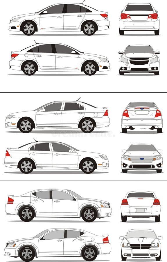 amerikansk liten bilcompactsedan vektor illustrationer
