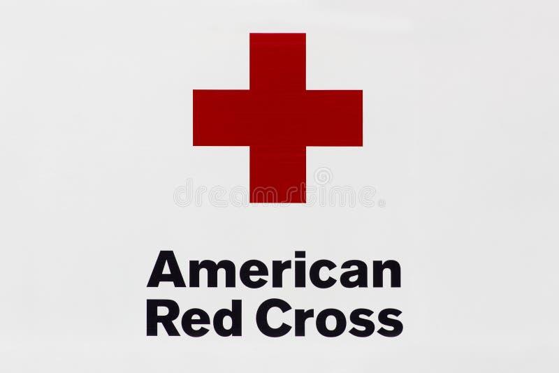 Amerikansk logo för Röda korsetblodservice royaltyfri foto