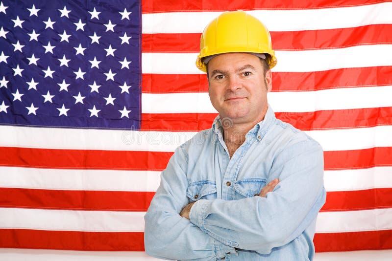 amerikansk manworking royaltyfri fotografi