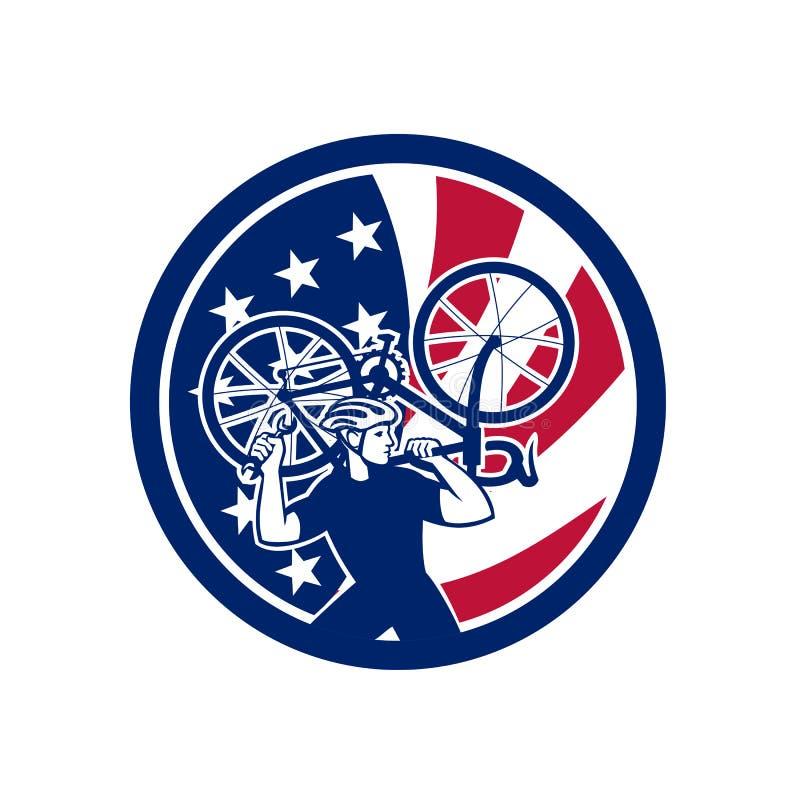 Amerikansk maskot för cykelmekanikerUSA flagga vektor illustrationer
