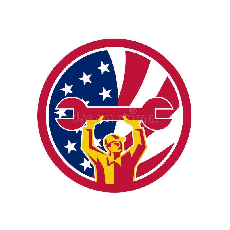 Amerikansk mekaniker USA Jack Flag Icon stock illustrationer