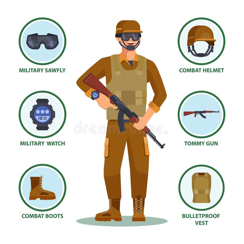 Amerikansk militär man, armésoldat med ammunitionar royaltyfri illustrationer