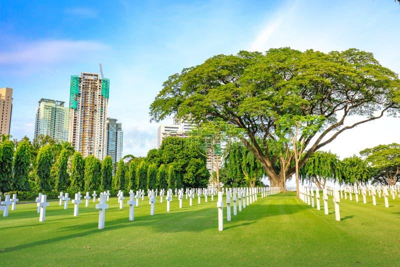 Amerikansk minnes- krigkyrkogård på Augusti 9, 2017 i den Taguig staden, mig arkivfoto