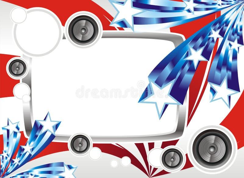amerikansk musik för designfantasiflagga stock illustrationer
