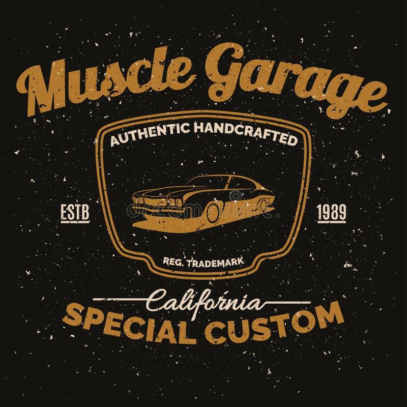Amerikansk muskelbil för tappning för utskrift med grungetextur stock illustrationer