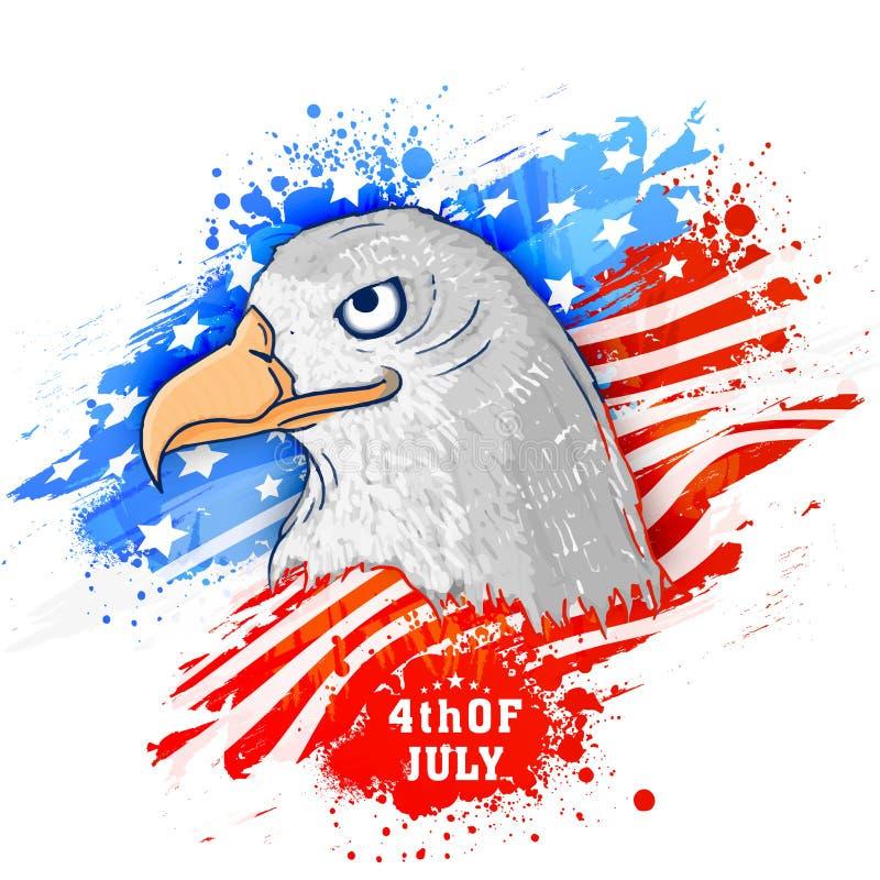 Amerikansk nationell fågelörn för självständighetsdagenberöm vektor illustrationer
