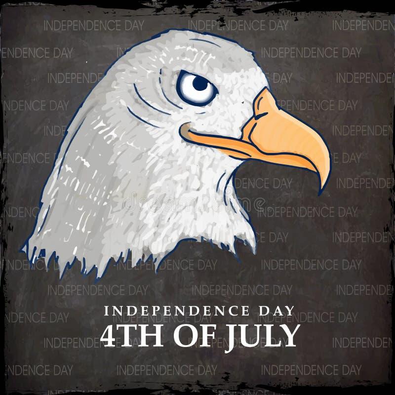 Amerikansk nationell fågelörn för självständighetsdagenberöm royaltyfri illustrationer