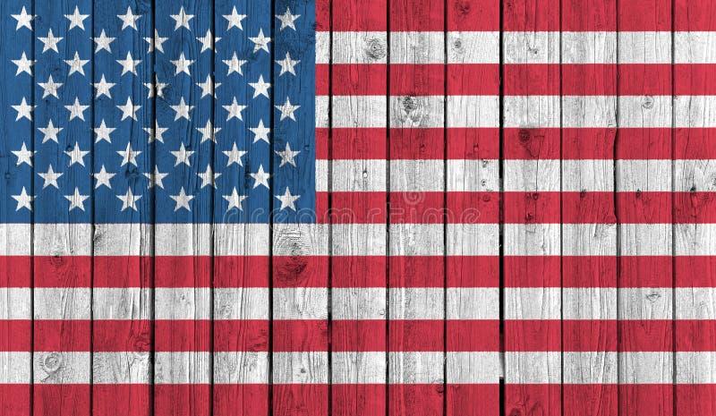 Amerikansk nationsflagga på gammal wood bakgrund arkivfoto