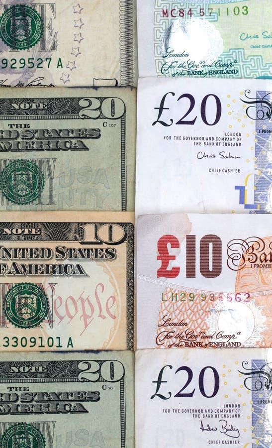 Amerikansk och brittisk valuta royaltyfri bild