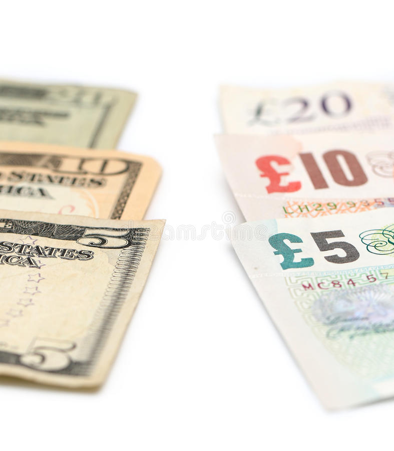 Amerikansk och brittisk valuta arkivfoto