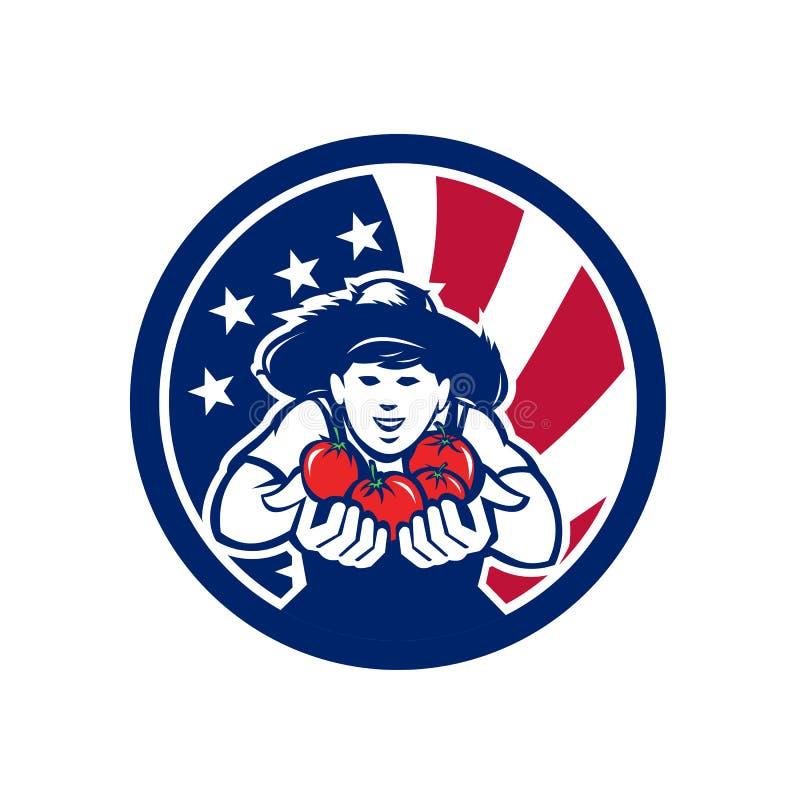 Amerikansk organisk fullvuxen symbol för jordbruksprodukterUSA flagga royaltyfri illustrationer