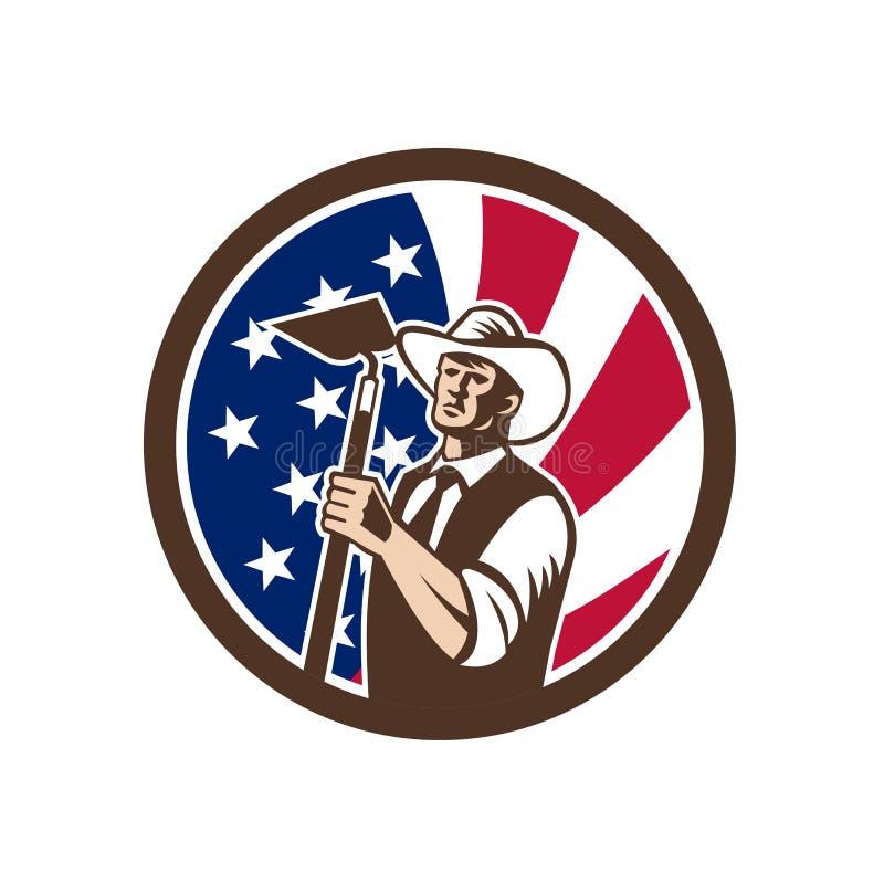 Amerikansk organisk symbol för bondeUSA flagga stock illustrationer