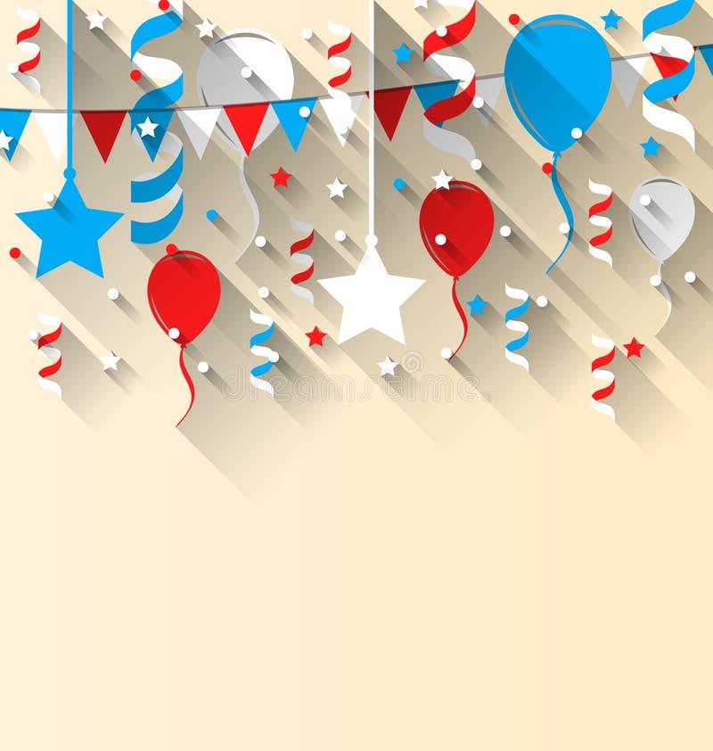Amerikansk patriotisk bakgrund med ballonger, banderoll, stjärnor vektor illustrationer