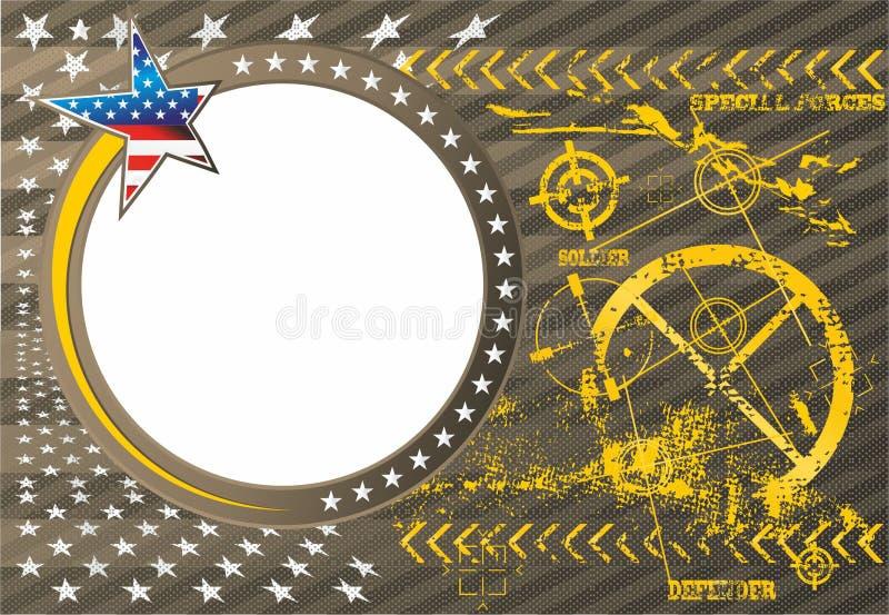 Amerikansk patriotisk vektorfotoram i en militär royaltyfri illustrationer