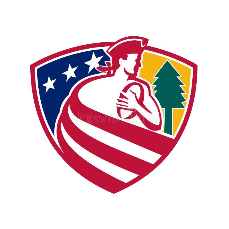Amerikansk patriotrugbysköld stock illustrationer