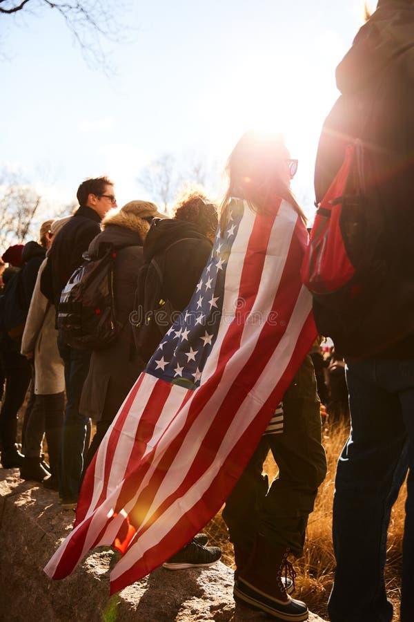 Amerikansk person som protesterar royaltyfri bild