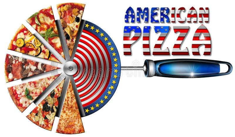 Amerikansk pizza på skäraren för pizza vektor illustrationer