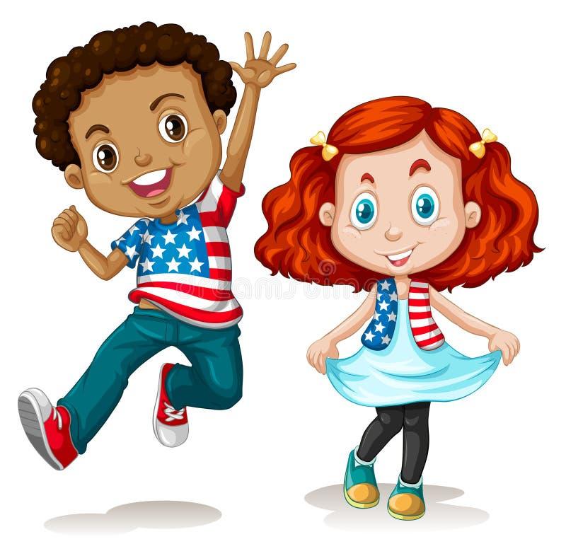 Amerikansk pojke- och flickahälsning vektor illustrationer