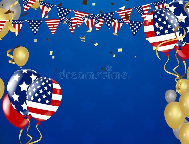 Amerikansk presidentdagbakgrund av att flyga för stjärnor Ferieconfe stock illustrationer