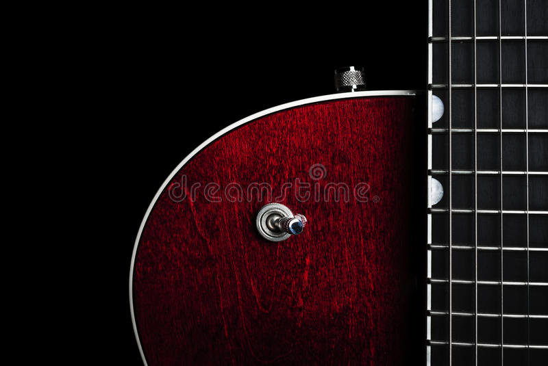 Amerikansk röd elektrisk gitarr royaltyfria foton