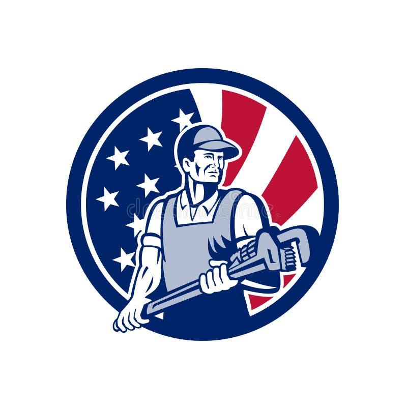 Amerikansk rörmokare- och Pipefitter USA flaggasymbol vektor illustrationer