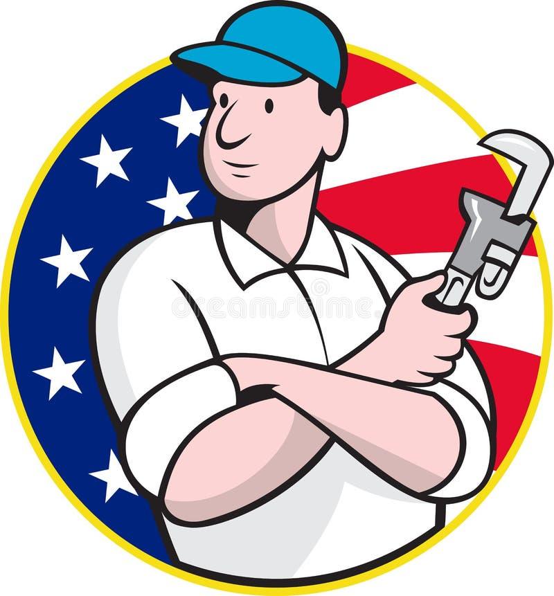 Amerikansk rörmokarearbetare med den justerbara skiftnyckeln stock illustrationer