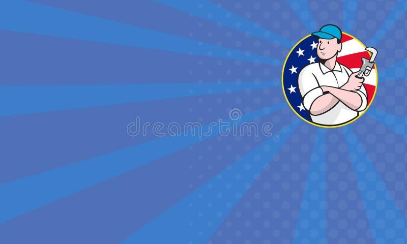 Amerikansk rörmokarearbetare med den justerbara skiftnyckeln royaltyfri illustrationer