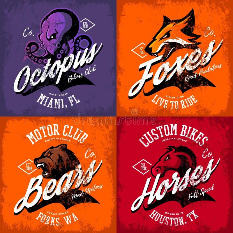 Amerikansk rasande bläckfisk för tappning, räv, björn, uppsättning för design för vektor för tryck för utslagsplats för hästcykli royaltyfri illustrationer