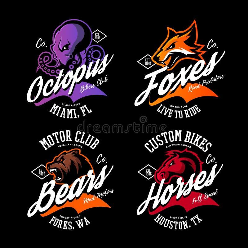 Amerikansk rasande bläckfisk för tappning, räv, björn, uppsättning för design för vektor för tryck för utslagsplats för hästcykli stock illustrationer
