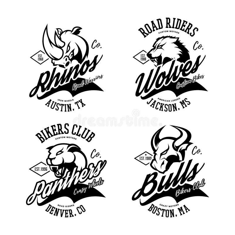 Amerikansk rasande tjur för tappning, varg, panter, design för vektor för tryck för utslagsplats för noshörningcyklistklubba royaltyfri illustrationer